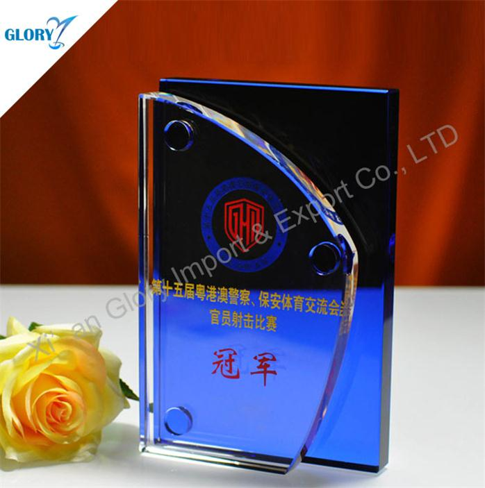 New Fashion Blank Blue Color Crystal Trophy for Award Show