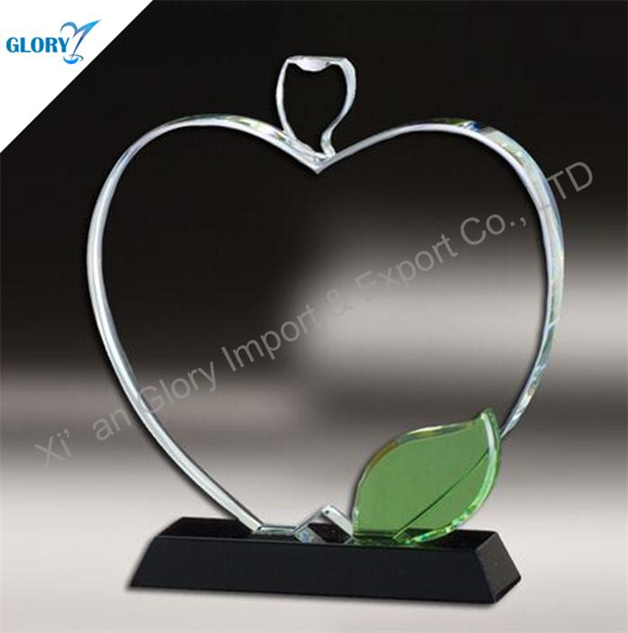 Custom Apple Shaped Crystal Award Trophy