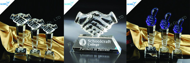handshake crystal trophy -glory award trophy