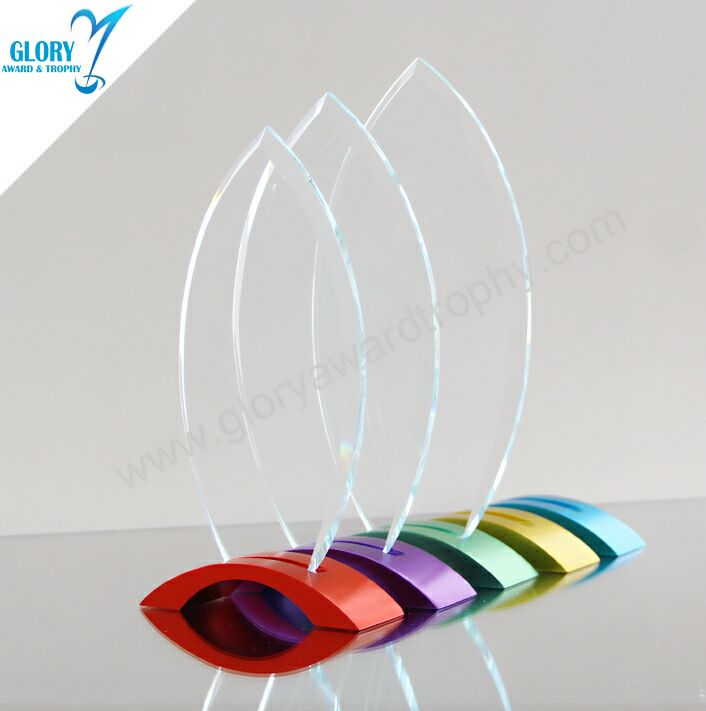 Souvenir Glass Crystal Plaque Award Trophy with Colorful Metal Base