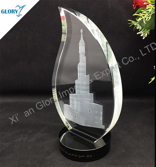 Custom Trophy Crystal Flame Award with Black Base