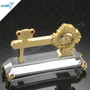 Golden Key Shaped Cystal Award Trophy