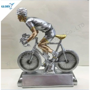 Realistic Silver Resin Racing Bike Trophy for Souvenir