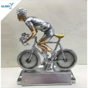 Realistic Silver Resin Racing Bike Trophy for Souvenir