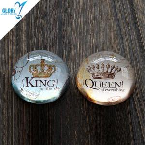 King Queen Blank Clear Dome Crystal Glass Paperweight for Birthday