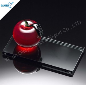 Custom Ornaments Red Glass Crystal Apple for Wedding Gifts