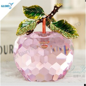 Crystal Glass Wedding Gifts Color Apple Crystal for Souvenir