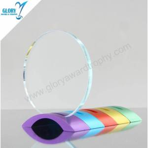 Colorful Metal Base Engraved Round Crystal Glass Trophy Awards for Music