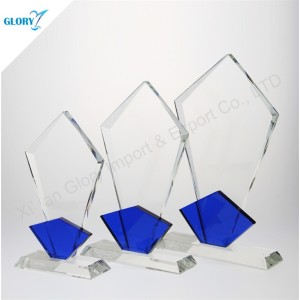 Engraved Shield Crystal Color Glass Trophy for Souvenir