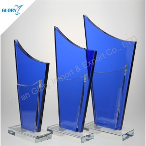 Blank Blue Iceberg Plaques Awards Etched Glass Trophies