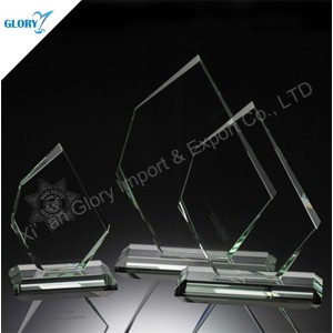 China Quality Blank Jade Glass Trophies for Engraving