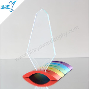 Wholesale Custom Glass Plaque Metal Base Colour Creative Trophy