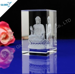 Quality Laser Engraved Photo 3d Crystal Cube for Souvenir