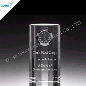 Small Desktop Glass Gift Elegant Crystal Clock for Souvenir