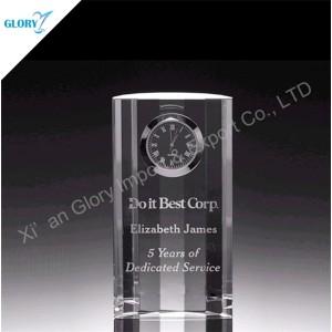 Small Desktop Glass Gift Elegant Crystal Clock for Souvenir