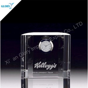 Engraved Crystal Glass Cool Desk Clocks for Gifts
