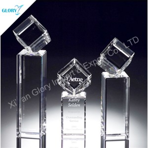 Custom Engraved Pillar Crystal Square Trophy for Business Gift