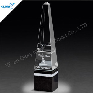 Fashionable Exquisite Freedoom Custom Logo Design Crystal Obelisk Trophy