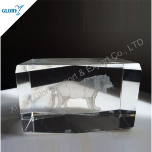 3D Laser Animal Blank Crystal Cube for Gifts