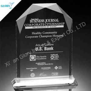 Clear Sheild Plate Trophy Crystal Arch Award from China