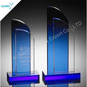 Quality Blue Boat Sail Crystal Trophy for Souvenir
