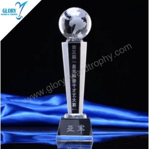 China Quality Glass Crystal Earth Awards Trophies