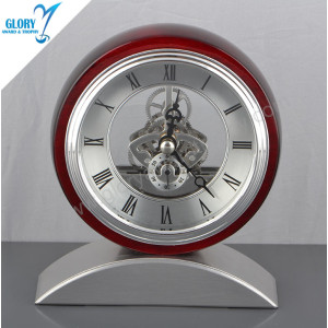 Wholesale Quality Metal Wood Desktop Clock for Souvenir