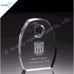 Modern Standing Crystal Glass Dome Oval Clock for Desk Decor