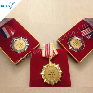 Blank Honor Sports Gold Silver Bronze Medals and Ribbons