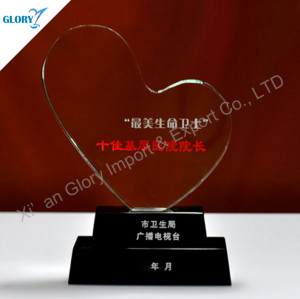 Custom Heart Shaped Crystal Glass Awards and Trophies