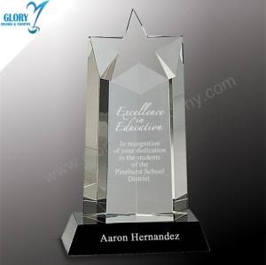 New Design Engrave Sandblast Crystal Star Awards in China