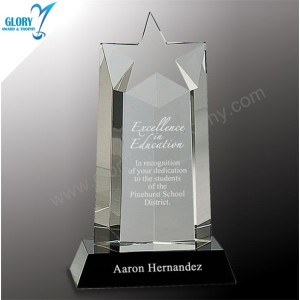 New Design Engrave Sandblast Crystal Star Awards in China