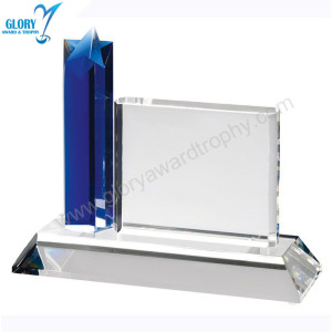 Custom Blank Blue Crystal Star Trophies for Souvenir