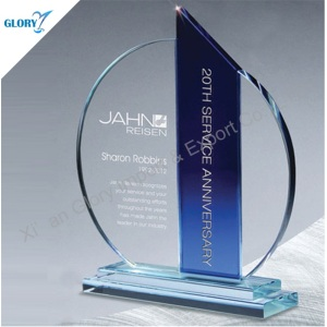 Custom Designs K9 Crystal Plaque and Trophy for Award