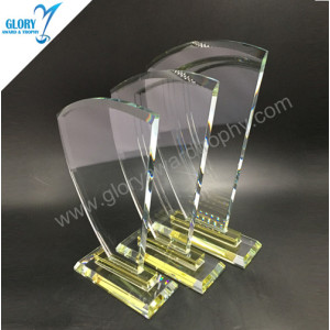 New China Yellow glass &  crystal award trophy