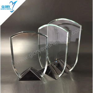 New black base clear glass plaque trophy Award 2018