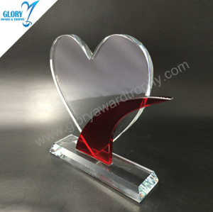 2018 Heart shape red crystal plaque trophy Award