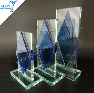 Hot clear and blue glass connection plaque trophy award