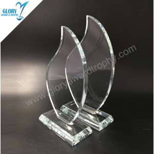 China new customized flame clear glass trophy awards 2018