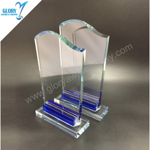 Wholesale China blue clear glass trophy plaque 2018