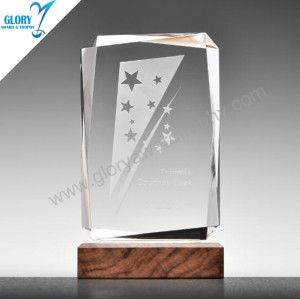Latest design square plaque glass award trophy