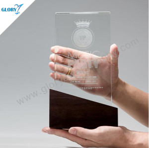 First-rate quality  crystal trophy with wooden base