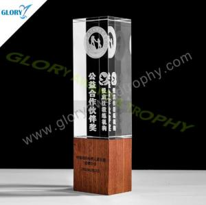 Quality K9 crystal award with wooden base