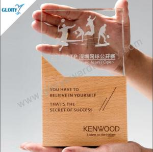 Elegant glass trophies awards for engraving with wooden base