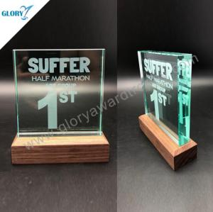 Quality jade glass plaque award with wooden base