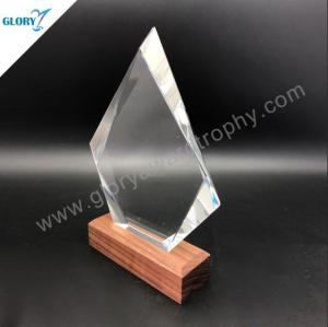 Elegant iceberg glass trophies with wooden base