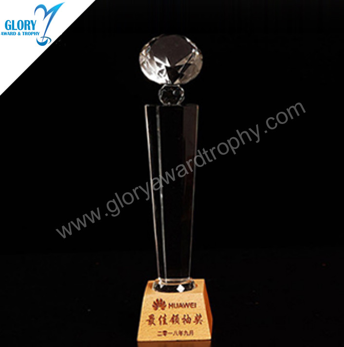 Diamond crystal trophy with wooden base