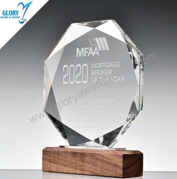 Classic Octagonal Glass Trophy China Factory Custom Wholesale