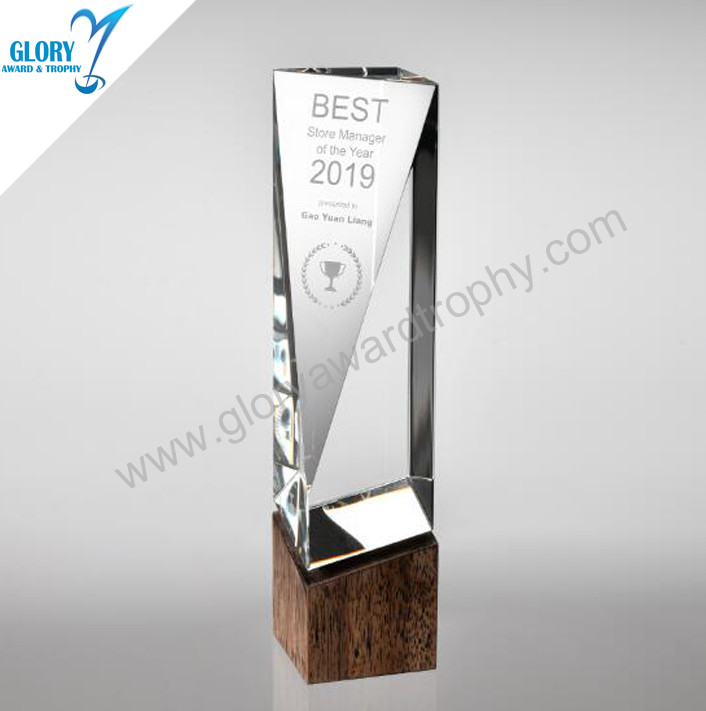 Customized design crystal wooden trophy wholesale