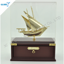 Elegant Model Sailing Ships with Wood Base